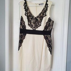 Jennifer Lopez Black Lace and Cream Dress